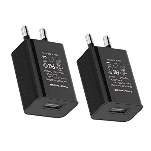 Europe Wall Charger, 3-Pack 2A 5V European USB Wall Charger Power Adapter Charging Plug (Black) (Source 2a Usb 5v Power)