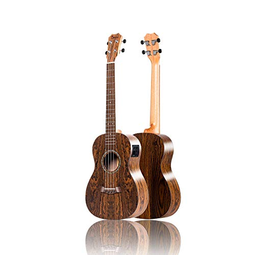 Left Handed - Caramel CT905L All Butterfly Bocote Wood Tenor Acoustic & Electric Ukulele with Truss Rod
