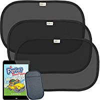 "COOL BABY Side Window Car Sun Shades for Infants Passengers Pets Carseats | Automotive Accessory 98% UV Heat Protection | No-Slip Cell Phone Pad | Cleaning Cloth | eBook ""Perfect Travelling Games"""