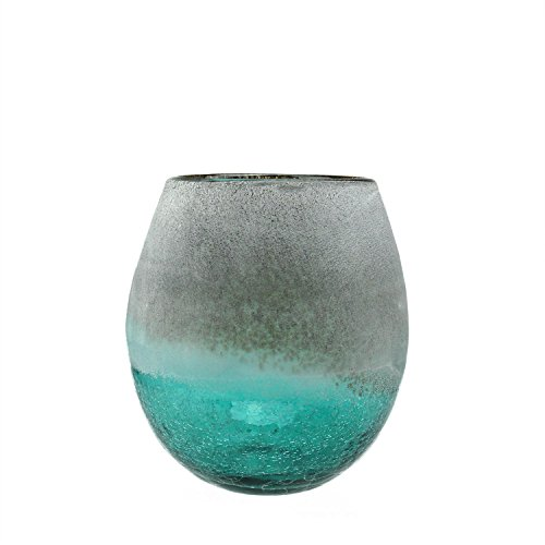 8-Teal-Blue-Crackled-and-Brown-Frosted-Hand-Blown-Decorative-Glass-Vase