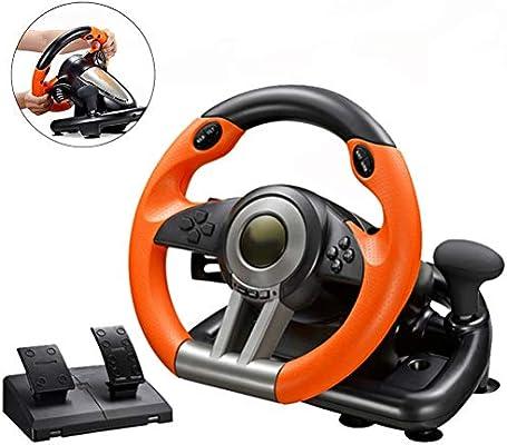 Simulado Conducción Volante Ordenador, Volante del Juego Que Compite con El Motor De Vibración Doble Y Pedales Sensibles PC / PS3 / 4 / Xbox One/Interruptor Compatible,Naranja: Amazon.es: Hogar