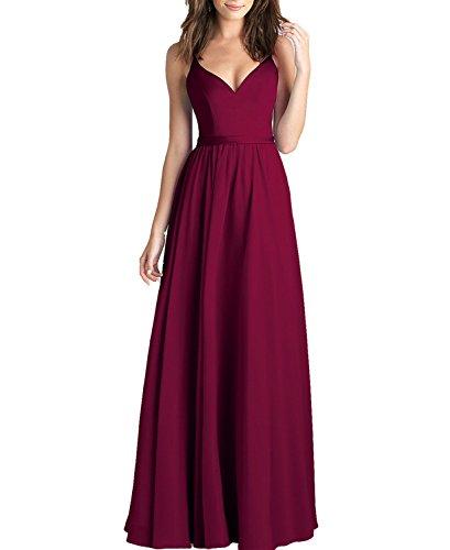 Long Dress Evening Straps Line Elegant Dress BONBETE Neck Party Wedding Chiffon Spaghetti Burgundy V A qn0aOwSA