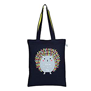"EcoRight Zipper Tote Reusable 100% Cotton Canvas EcoFriendly Printed""Hug me Porcupine"""