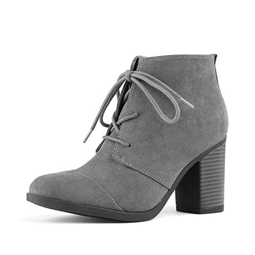 TOETOS Women's Chicago-05 Grey Suede Leather Chunky Heel Ankle Boots Size 9 M US