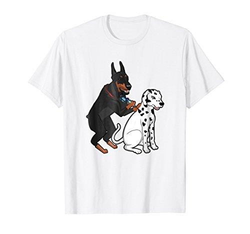 Doberman Tattooing Spots on Dalmatian Funny Dog T-Shirt ()