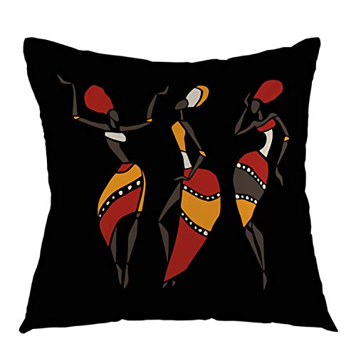 oFloral Home Decorative African Dancers Silhouette Set Throw Pillow Case Square Cushion Cover for Sofa Couch Bedroom Living Room Dorm Decoration 18 x 18 Inch Black Yellow Red