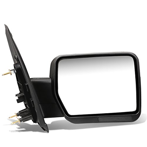 Ford F150 Black Textured Telescoping Manual Folding Side Towing Mirror + Back Reflector (Right) (2010 Ford F150 Passenger Mirror)