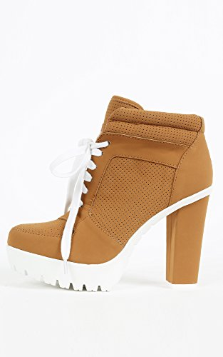 Womens Bamboo Payton-01 Sneaker Chunky Heel Booties CHESTNUT 6 New: In Box