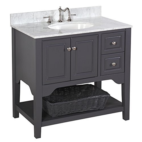 "Kitchen Bath Collection KBC36TRA33GYCARR Washington Bathroom Vanity with Marble Countertop, Cabinet with Soft Close Function & Undermount Ceramic Sink, 36"", Carrara/Charcoal Gray"