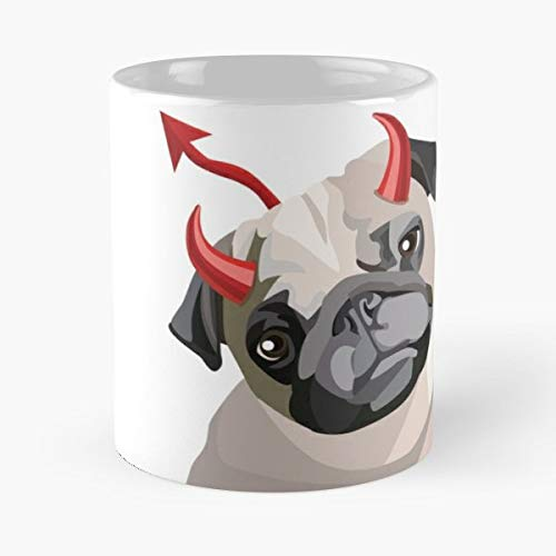 Devil Pug Halloween Costume Ideas Coffee Mugs Unique Ceramic Novelty Cup]()