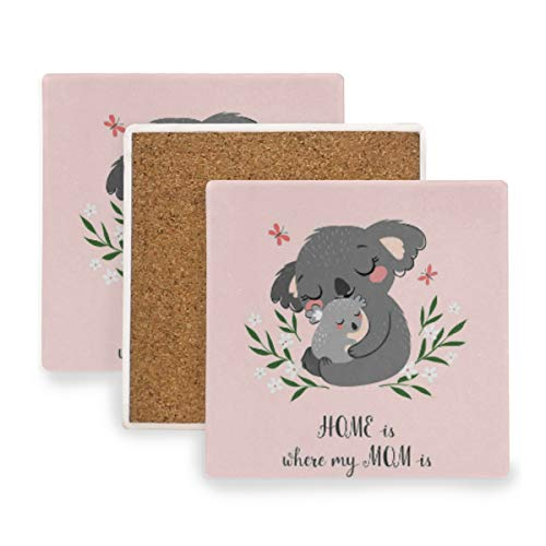 (Large Square Drink Coasters,Koala Bear Mom Son Ceramic Thirsty Stone With Cork Back Cup mats Protect Your Furniture From Spills,Scratches,Water Rings and Damage 4pcs)