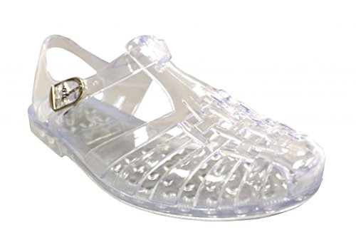 s Angel-Low Fisherman T-Strap Jelly Flat Sandals, Clear 10 ()