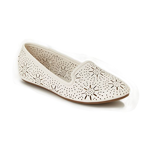 Daisy Fuentes Fashion Ryan Flats, Perforated Upper, All Vegan Construction, White