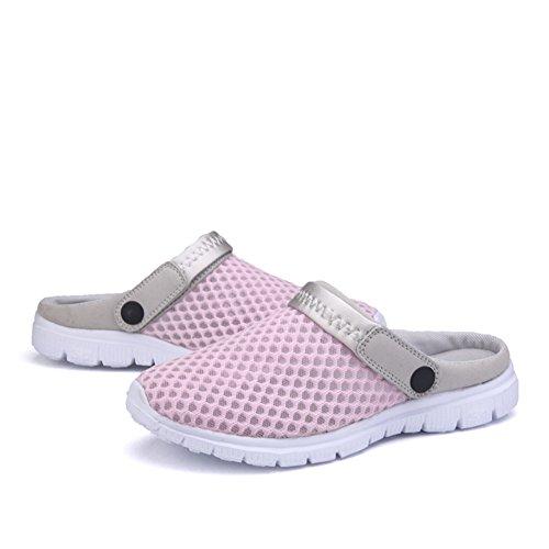 SAGUARO® Unisex respirable de la red del acoplamiento zapatillas de playa ahueca hacia fuera las sandalias rosa