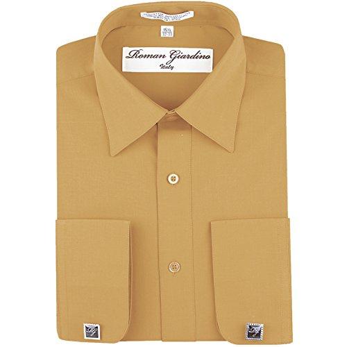 Men's Dress Shirt Peach Caramel Long Convertible Sleeve Collar Machine Washable Free Cufflink 16.5 ()