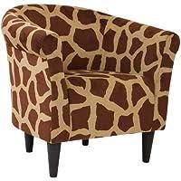 Mainstays Microfiber Tub Lightweight Accent Chair (27.50 x 30.50 x 32.00, Giraffe Animal Print)