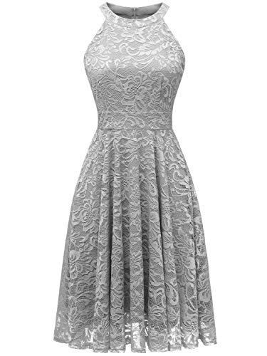Halter Neck Corset - IVNIS IV9006 Women's Halter Neck Floral Lace Bridesmaid Dress Sleeveless Swing Cocktail Dress Grey M