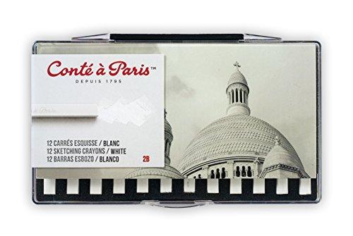 Conté à Paris 12 Count 2B Sketching Crayons Set, White ()