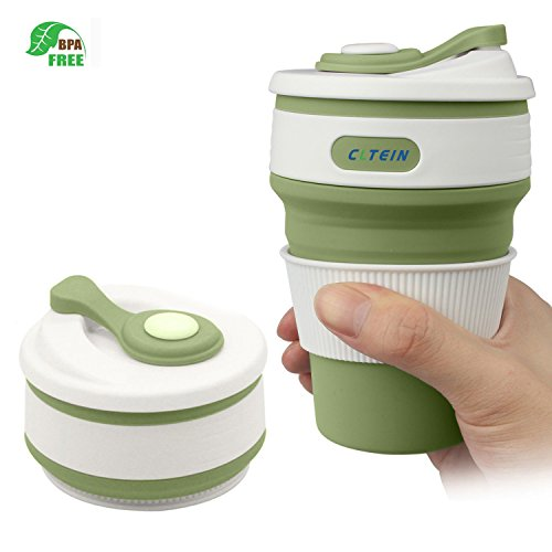 ravel Mug -CLTEIN Certified BPA Free Food-Grade Silicone Coffee Cup Pocket-Sized Camping Mug with Lid Reusable for Travel and Hiking,Dishwasher & Microwave Safe-12oz (Green) ()