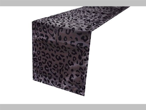12'' x 108'' Safari Animal Print Leopard Table Runner - Black and Silver