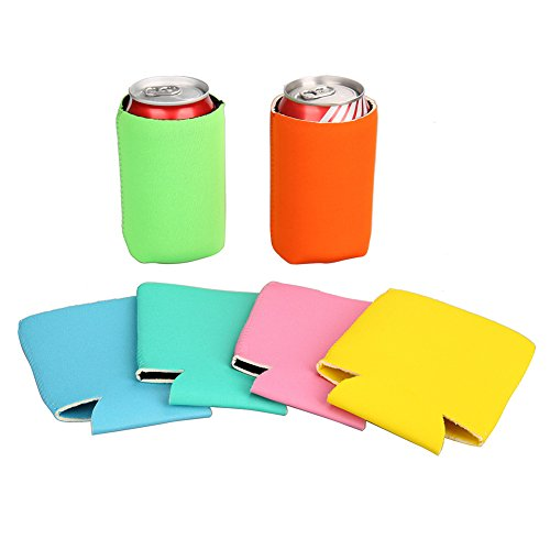 E-Living 330ML (12 OZ) Collapsible Neoprene Can/Beer/Bottle/Beverage Cooler/Coolie/Cover/Insulator/Holder/Huggie/Sleeve for Cola/Beer/Soda - 6 Pack (Summer Colors)