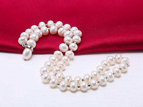 Jyx Blanc 9-10mm d'eau douce Collier de perles de culture avec longueur réglable