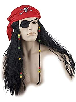 DISBACANAL Peluca Pirata con pañuelo y Parche