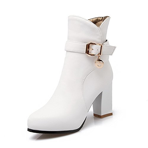 AmoonyFashion Solid top Chains High Heels White Boots Women's PU Low AwCrqXA7x