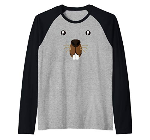 Cute Animal Face Groundhog Day Beaver Kawaii Style Costume  Raglan Baseball Tee ()