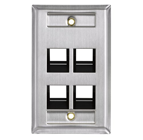Leviton 43081-1L4 4-Port Angled Stainless Steel QuickPort Single Gang Wallplate with ID Windows (Flush Wall Mount Plate Quickport)