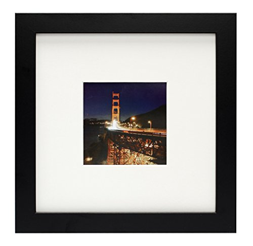 Frametory, 8X8 Black Square, Instagram Picture Frame - Made to Display Pictures 4X4 Photo with Ivory Color Mat - Wide Molding - Preinstalled Wall Mounting Hardware (1, Black)