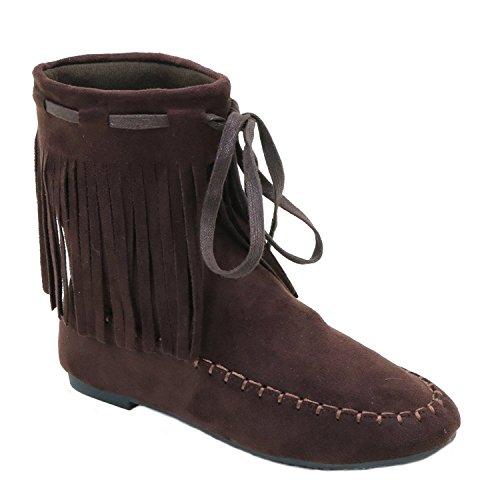 [Fringe Mocassin Flat Vegan Women's Vegan Suede Boot] (Furry Boots Cheap)