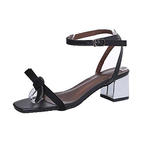 TOOPOOT Women's Sweet Summer Thick Heel Sandals Gladiator Open Toe Shoes Sandals (US:7, (Black Microfiber Heels)