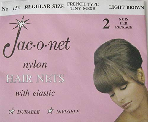 Regular Size #156 Light Brown French Type Tiny Mesh Hair Net 12 Net Jac-o-net (6 packages)