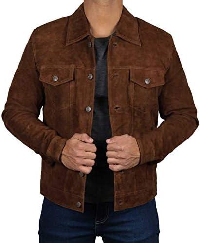Men's Logan Cowboy Style Brown trucker Suede Leather Jacket
