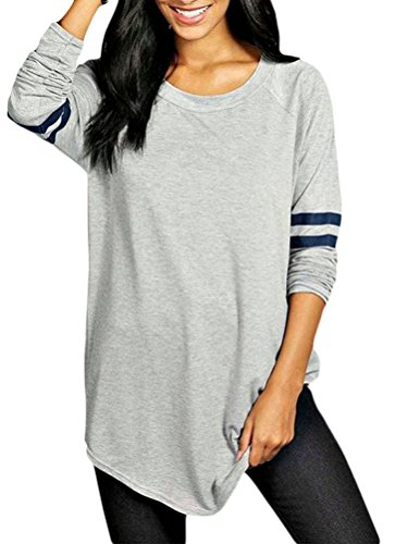 Womens Plus Size Workout Striped Baseball T-Shirt Loose Long Blouse TopGray XL