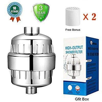 Filtres à douche,Filtre de Douche 10-étages Avec Cartouche de Filtre Remplaçable, Pour réduire le chlore - Sortie à haute pression universelle, à main ou à tête combinée pour exeblue