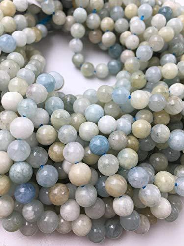 (ShopForAllYou Design Making Blue Green Aquamarine Genuine Smooth Round Gemstone Beads 7mm 15.5 inch)