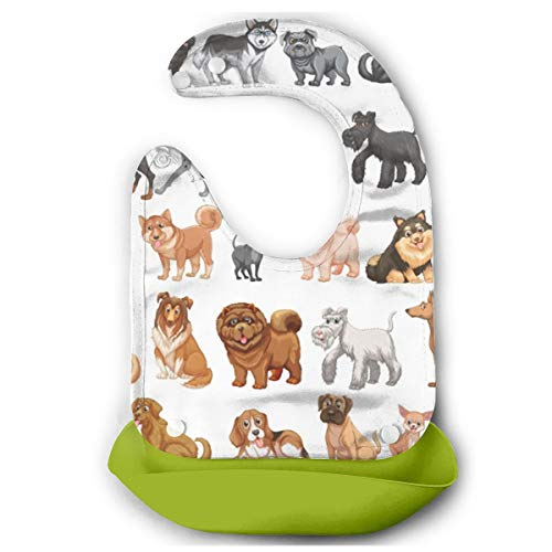 Different Breeds Dogs Collection Baby Waterproof Bibs Separable Apron Easy Clean With Big Pocket Green