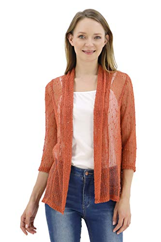 BENANCY Women's 3/4 Sleeve Lightweight Mesh Crochet Short Shrug Cardigan Rust XL