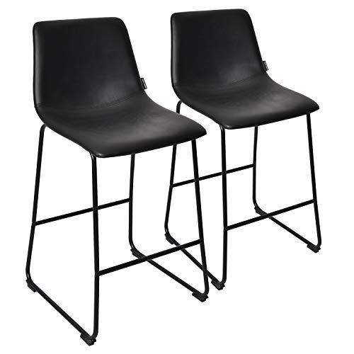 Height Leather Counter (PULUOMIS Black Faux Leather Barstool Set of 2,Counter Height Stools with Metal Sled Base Home Kitchen Dining)