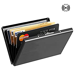 Best RFID Blocking Credit Card Holder, MaxGearTM Stainless Steel Card Holder Case for Travel and Work, Steel Metal Slim Wallet , Credit Card Case for Business Cards, Credit Cards, and Driver License