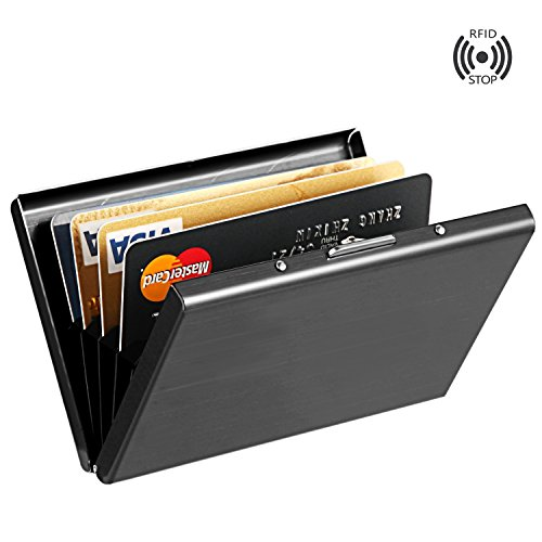 05. Best RFID Blocking Credit Card Holder, MaxGear™ Stainless Steel Card Holder Case for Travel and Work, Steel Metal Slim Wallet