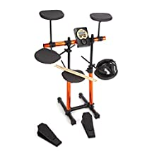 RockJam Electronic Drum Kit SuperKit with two foot pedals, headphones, and drumsticks