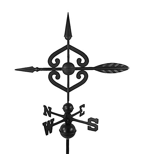 Dalvento 208B Scrolled Arrow Weathervane Aluminum with Traditional Directionals and Globes, Large Black