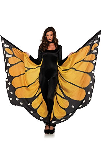 [Leg Avenue Women's Festival Monarch Butterfly Cape, Orange/Black, One Size] (Orange Adult Butterfly Costumes)
