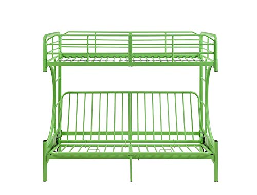 Major-Q 7002091gr Green Modern Metal Tube Supported Twin Over Full Futon Bunk Bed with Built-in Ladders & Full Length Guard Rails