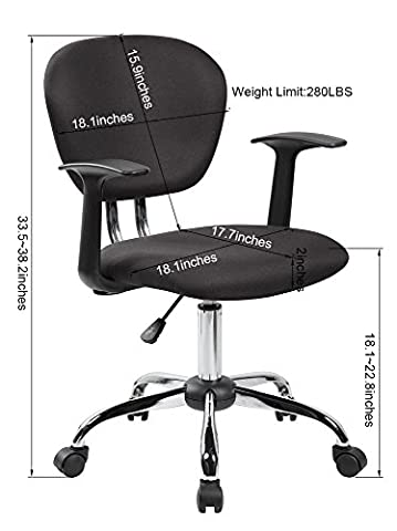 United Chair UOC-1008F-BK Mid-back Fabric Task Chair with Arms and Chrome Base, Black - Chair Chrome Base