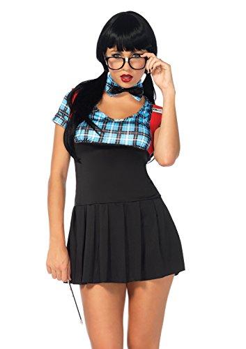 Leg Avenue Women's 4 Piece Naughty Nerd Costume, Blue, Small/Medium -