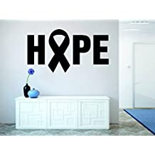 Design with Vinyl RAD 964 1 Hope Breast Cancer Ribbon Awareness Motivational Inspirational Quote Wall Decal, Black, 12 x 18""